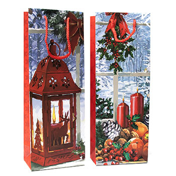 Christmas Lanterns & Candles Wine Gift Bag