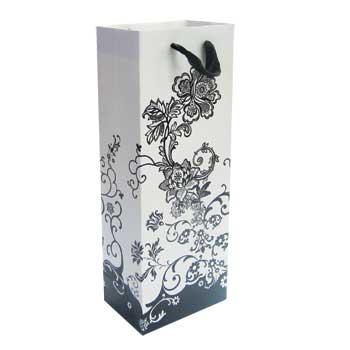 Floral Black Wine Gift Bags